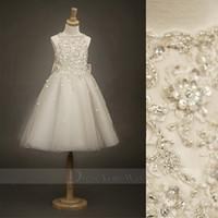 Wholesale 2014 Little Flower Girl Dress Bateau Neck A line Lace Appliques Big Bow Accent the Back Satin Kids Gown DZ010
