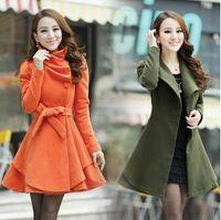Women Lapel Neck Long Sleeve New Womens wool coat slim long tunic dress coats shoulder strap epaulet outerwear with waistband belt