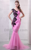 Wholesale 2012 Dhgate Hot One Shoulder Tulle amp Black Lace Evening Dresses Mermaid Bridesmaid Dresses DH00276