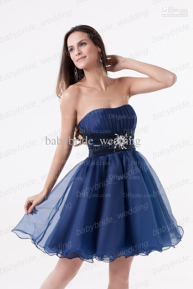 2013 blue little cocktail dresses belt strapless