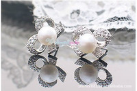 Wholesale 12 Pairs White Pearl Crystal Butterfly Stud Wedding beaded Earrings
