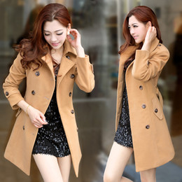 New Arrival Womens Wool Coat Long Tunic Double Breasted Coats Overcoat OL Autumn Winter Outerwear
