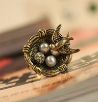 Wholesale F1122 Antique bronze bird cage Woman Fashion Rings man boy Girl rings Bohemian Vintage Boy Ring