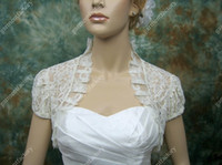 Wholesale 2015 Vintage Bridal Lace Bolero Jacket Wedding Dress Short Sleeve Ruffles Hemline Custom Made Size Wedding Jacket Woman Drop Shipping