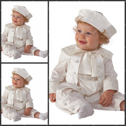 Babies Rompers Ankle Length Taffeta White Ivory Champagne Boys First Communion Gowns Christening Clothes with Hat Baptism Suits Dresses