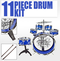 Wholesale 11 PC Kids Drum Set Blue Boy Girl Musical Instrument Toy Music Band Children NEW