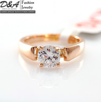 South American Men's Wedding Fashion Jewelry Xmas Gift 18K Rose Gold Plated CZ Diamonds Engagement Wedding Ring For Women DR003R