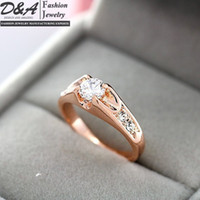 Wholesale Fashion Jewelry K Real Gold Plated CZ Diamonds Engagement Wedding Rings For Women DR005R