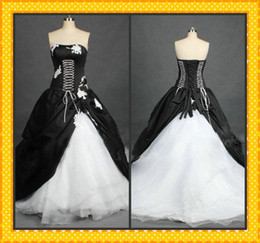 2015 Hot Real Strapless White Black Wedding Gowns Appliqued A-line Taffeta Organza Gothic Victorian Wedding Dresses