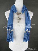 Wholesale Scarf jewelry cross Pendant necklace Fashion womens Soft scarves Jewellery Mix design Mix Colors
