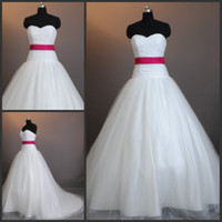 Wholesale Generous A line Strapless Ruffle Red Ribon Tulle Sweep Train Custom Made Wedding Dress