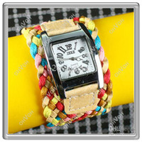 Wholesale S5Q Colorful Candy Weaving Braided Strap Rope Bracelet Quartz Wrist Women Watch