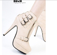 Half Boots Women PU 2012 Kvoll Brown high quality pu leather fashion women's ankle boots with multi belts buckles and hi