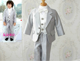 Wholesale Silver Boy s Formal Occasion New Children s Suits Tuxedo Male Flower Girl Dress Coat Piece Set