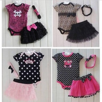 Wholesale baby girl infant piece set outfits leopard skull romper jumpsuit jumper dress lace pettiskirt tutu skirt bow headband pajamas PJ S