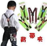 Wholesale kids Children Y back Suspenders Adjustable Braces baby s Elasticity Strap clip