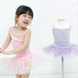 Free freight Children's short-sleeved ballet skirt,3-8 years kid tutu dance dress,girl dancing dress