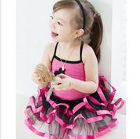 al por mayor dre rojo-3y-8 Years La falda short-sleeved del ballet de los niños, vestido de la danza del tutú, vestido del baile, falda del bebé, dre de la etapa