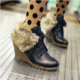 Wholesale Rabbit Hair Snow Boots Wedge Martin Boots System With Short Boots AK00007