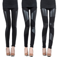 Wholesale New Style Sexy Black Punk Vintage Stretch Splice Faux Leather Panel Leggings Pants Shiny Tights A1