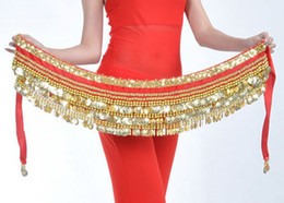 Wholesale Heavy Coins small bead Gold colors Belly Egypt Dance Hip Skirt Scarf Wrap Belt Costume