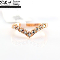 Wholesale Fashion Jewelry Xmas Gift K Real Gold Plated CZ Diamonds Engagement Wedding Ring For Women DR006