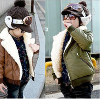 Wholesale Baby girl s boy s coat fashion winter PU jackets children cool solid fleece thicking outwears coat
