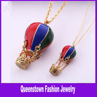 Women's balloon sweater - Fashion Color Drip Hot Air Balloon Long Necklace Sweater Chain