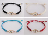 Wholesale evil eye crystal bangle braided charm bracelet mix color cheap women s jewelry