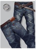 Wholesale Men s Classic Jeans Mens blue Denim Jeans Men s Long Straight Trousers 615