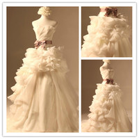 Wholesale Real Sample Ivory Ruffle Applique Vintage Wedding Dress Bridal Gown With Purple Sash