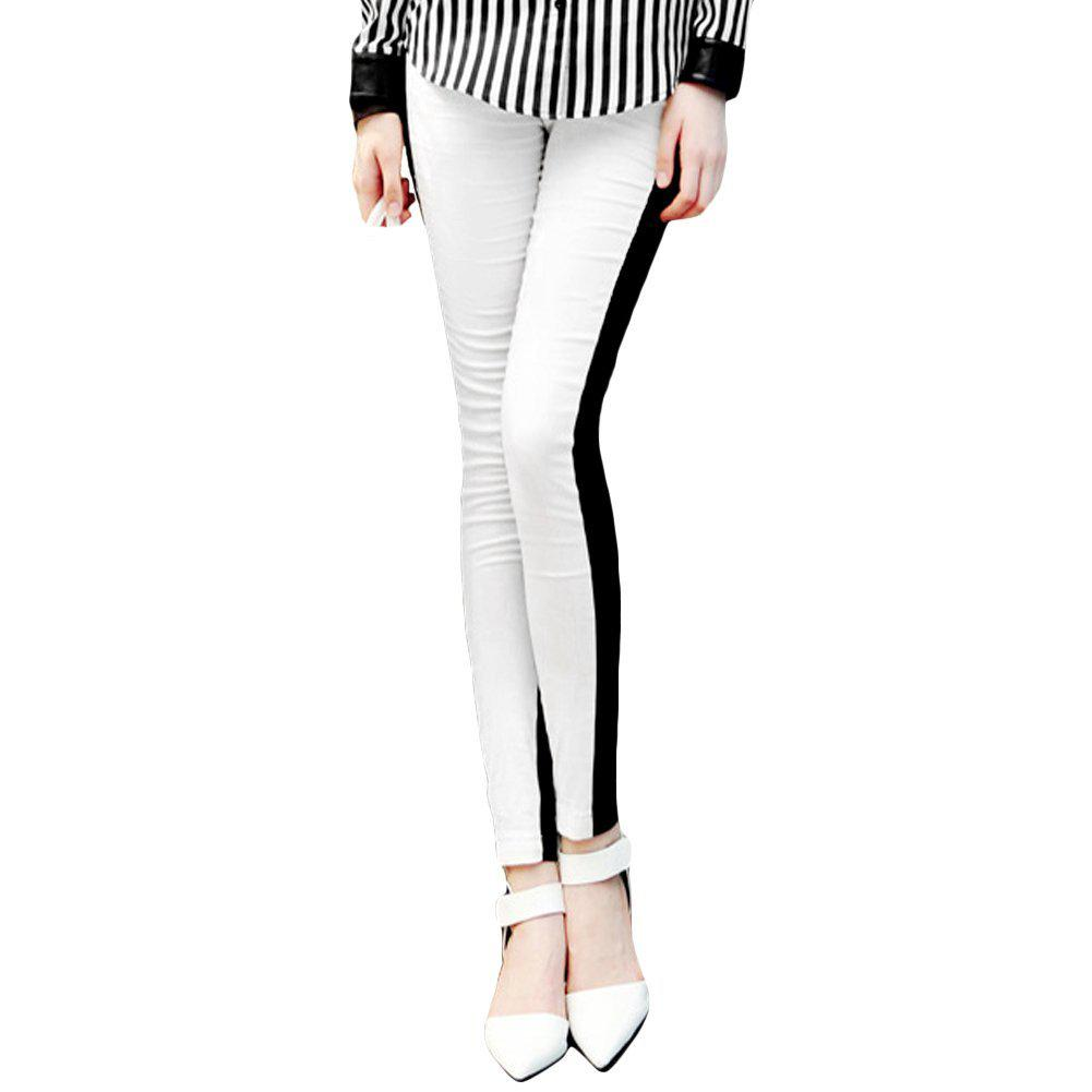 Women Half White Front Black Back Ankle Length Footless Legging ...