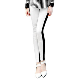 Wholesale Women Half White Front Black Back Ankle Length Footless Legging Tregging Tight One Size