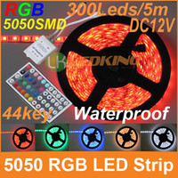 Wholesale 2016 RGB LED Strip SMD leds M reel flexible Waterproof with keys remote controller DC12V A