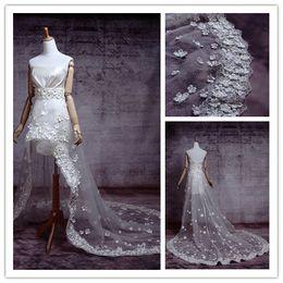 Wholesale Real Sample Hi lo Hi Low High Low Long Train Sexy Handmade Flower Wedding Dress Bridal Gown