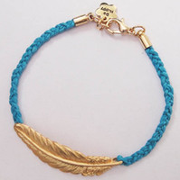 Wholesale high quality fashoin feather bangle braided charm bracelet cheap jewelry