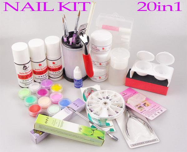 Wholesale Nail Art Kits - Buy 20in1 Beginner Full Set Acrylic Nail