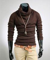 Classic Render colore puro indumento superiore uomo senza fodera in morbido continua collo alto svago AK0010-3