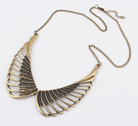 Alloy angels crest - Popular Restore Ancient Ways Alloy crest Angel Wings hollow out false collar Necklace