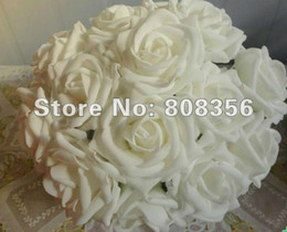 WHITE Color 100pcs Dia.8cm Artificial Simulation PE Foam EVA Single Stem Camellia Rose Flower Party Decorative Flowers
