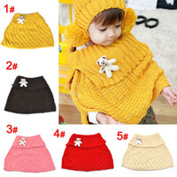 Wholesale children baby bear pin solid color lapel shawl scarves children scarf colors