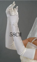 Wholesale White Stretchy Satin Long Gloves Wedding Party Prom Children Flower Girls Glove Q