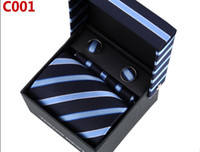 Wholesale Mens Blue Sky Blue Slanting Stripes Neckties Ties Cufflink Hanky Gift Box Sets