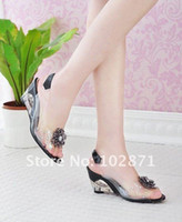 Wholesale 2012 New Style fair maiden flowers fish mouth wedges women s high heels crystal fashion sandals