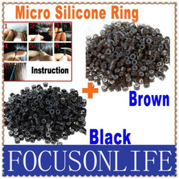 Wholesale 500pcs Black and Brown Color Silicone Micro Link Beads Rings Hair Extensions Toos Free Shippi