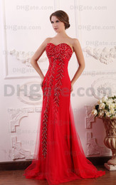 2015 Sexy Red A Line Sweetheart Prom Dresses Tulle Beaded Sequins Bodice Evening Gowns dhyz 01