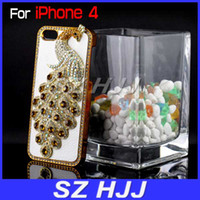 Wholesale Glitter Back Cover for iPhone4S G D Rhinestone Bling Phoenix Leather Faceplate Plastic Case