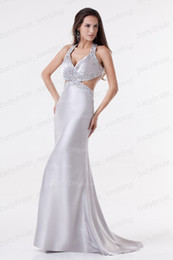 Wholesale Junoesque Silver Evening Dresses Halter V neck X back Party Dresses Mermaid Beads Prom Dresses
