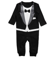 0-3 Months Boy Summer Long sleeve gentleman Bow tie baby rompers black white 2colour boys jumpsuits 0-2year infant clothes