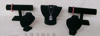 Wholesale Black Velvet necklace bracelet watch Jewellery Display Stand set jewelry holder pack